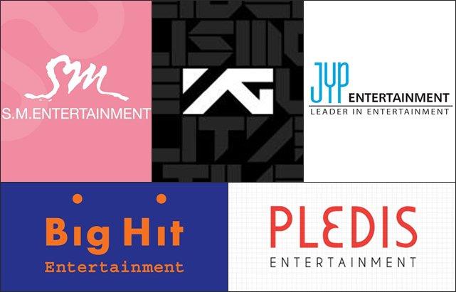 SME、YGE、JYPE、Big Hit Ent.、PLEDIS