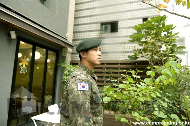 Yunho serves in his division in active duty as part of the military band.