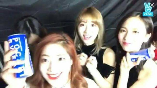 Dahyun, Momo, and Mina advertising Pocari Sweat to fans