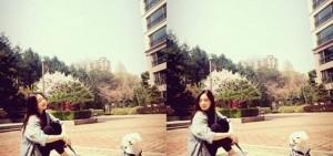 泰妍公開與小狗的約會 享受春日的陽光