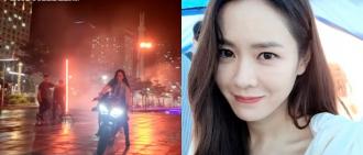 孫藝珍型爆踩電單車拍廣告 再次近鏡自拍騷靚樣