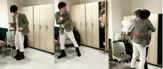 185cm燦烈為驚喜屈膝躲衣櫃 下秒彈出成功嚇親Suho