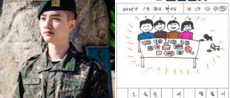 EXO D.O.今日退伍 公開手畫日記充滿童心
